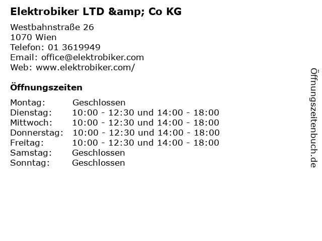 Elektrobiker LTD & Co KG in Wien: Adresse und Öffnungszeiten