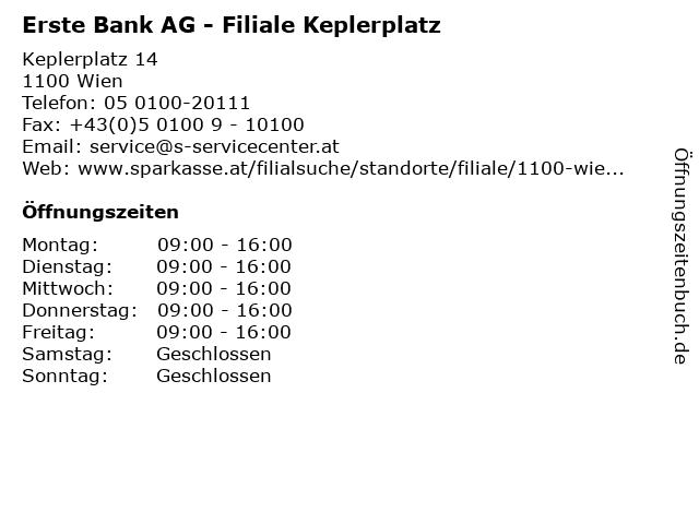 ᐅ öffnungszeiten Erste Bank Ag Filiale Keplerplatz