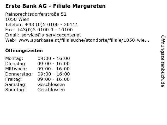 Erste Bank AG - Filiale Margareten in Wien: Adresse und Öffnungszeiten