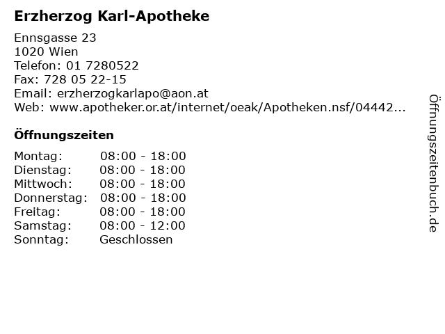 Erzherzog Karl-Apotheke in Wien: Adresse und Öffnungszeiten