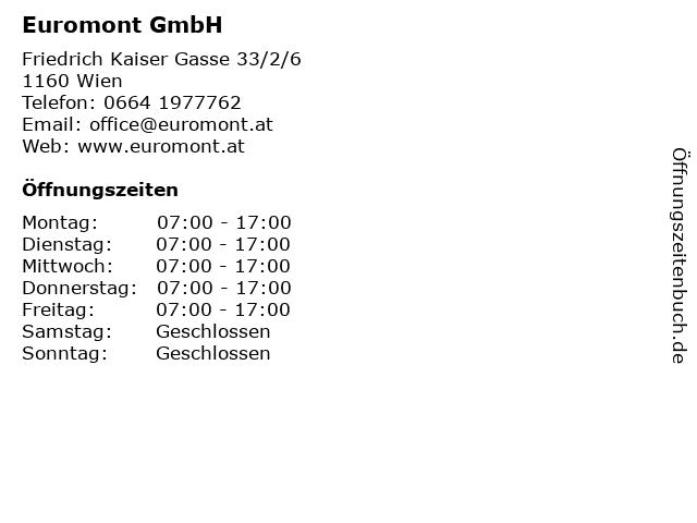 Euromont GmbH in Wien: Adresse und Öffnungszeiten