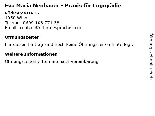 Eva Maria Neubauer - Praxis für Logopädie in Wien: Adresse und Öffnungszeiten