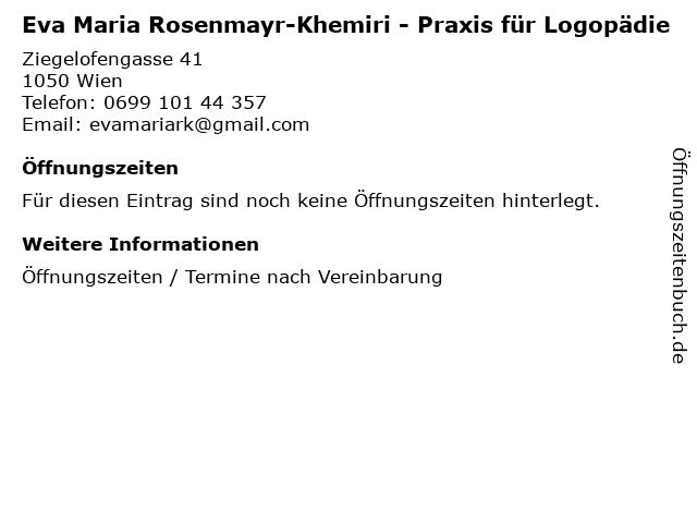 Eva Maria Rosenmayr-Khemiri - Praxis für Logopädie in Wien: Adresse und Öffnungszeiten