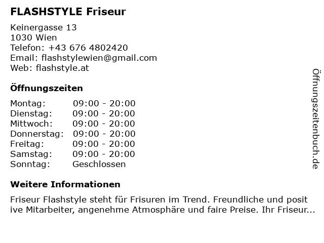 FLASHSTYLE Friseur in Wien: Adresse und Öffnungszeiten