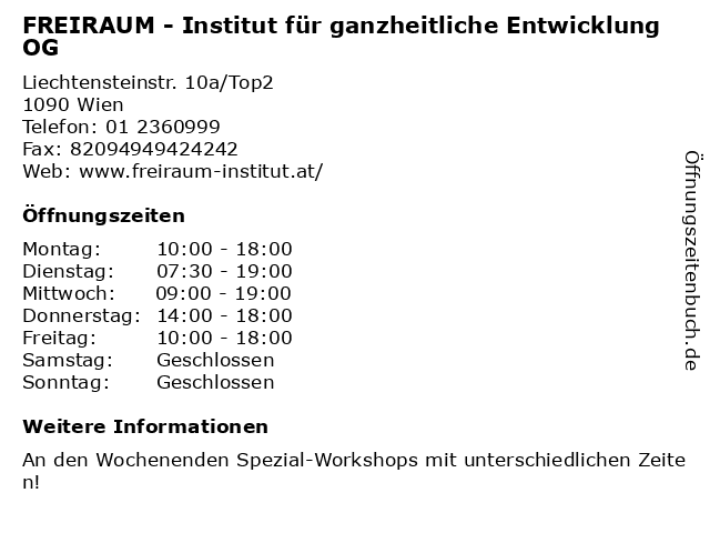 FREIRAUM - Institut für ganzheitliche Entwicklung OG in Wien: Adresse und Öffnungszeiten