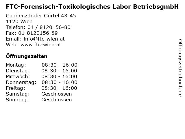 FTC-Forensisch-Toxikologisches Labor BetriebsgmbH in Wien: Adresse und Öffnungszeiten