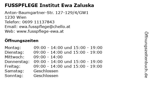 FUSSPFLEGE Institut Ewa Zaluska in Wien: Adresse und Öffnungszeiten