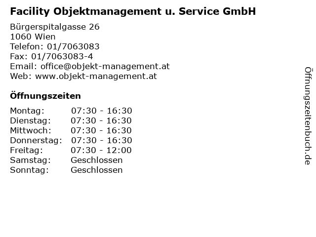 Facility Objektmanagement u. Service GmbH in Wien: Adresse und Öffnungszeiten