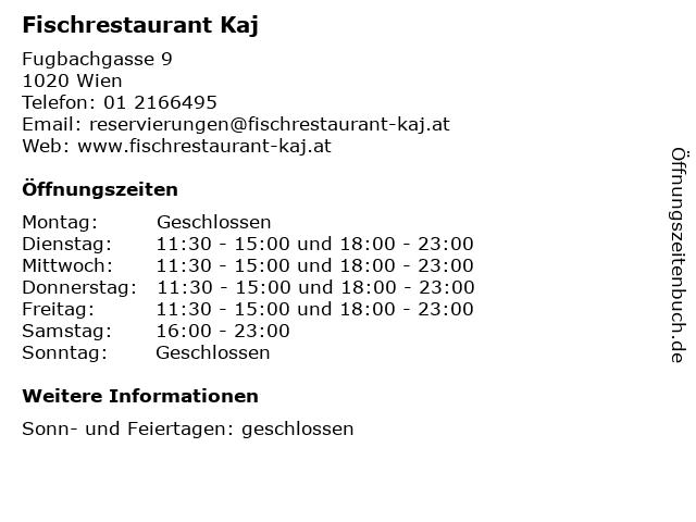 Fischrestaurant Kaj in Wien: Adresse und Öffnungszeiten