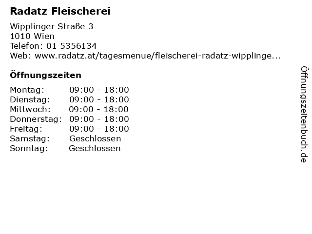 Fleischwaren Radatz in Wien: Adresse und Öffnungszeiten