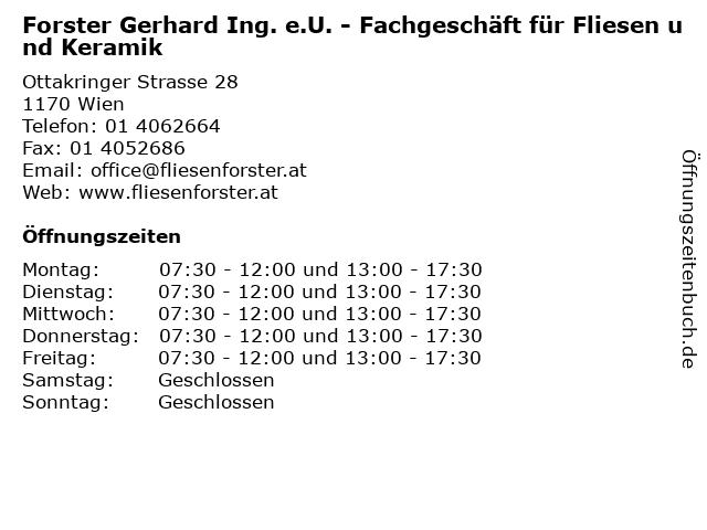 Forster Gerhard Ing. e.U. - Fachgeschäft für Fliesen und Keramik in Wien: Adresse und Öffnungszeiten