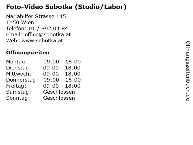 Foto-Video Sobotka (Studio/Labor) in Wien: Adresse und Öffnungszeiten