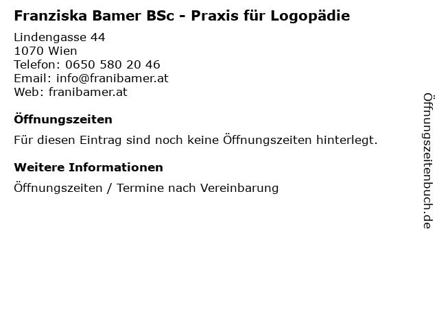 Franziska Bamer BSc - Praxis für Logopädie in Wien: Adresse und Öffnungszeiten