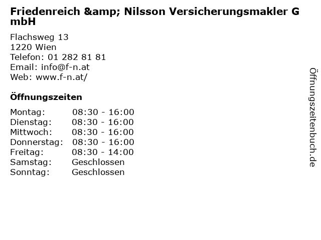Friedenreich & Nilsson Versicherungsmakler GmbH in Wien: Adresse und Öffnungszeiten