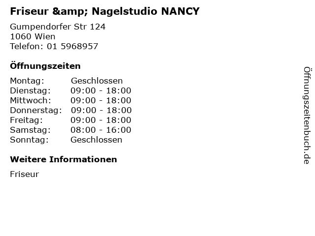 Friseur & Nagelstudio NANCY in Wien: Adresse und Öffnungszeiten