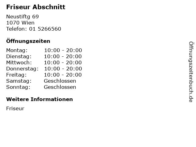Friseur Abschnitt in Wien: Adresse und Öffnungszeiten