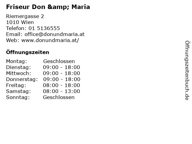 Friseur Don & Maria in Wien: Adresse und Öffnungszeiten