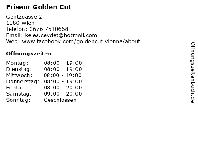 Friseur Golden Cut in Wien: Adresse und Öffnungszeiten
