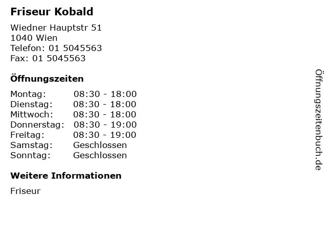 Friseur Kobald in Wien: Adresse und Öffnungszeiten