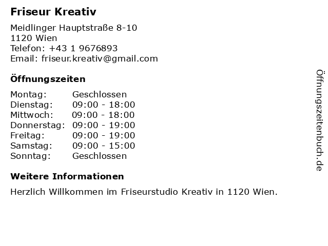 Friseur Kreativ in Wien: Adresse und Öffnungszeiten