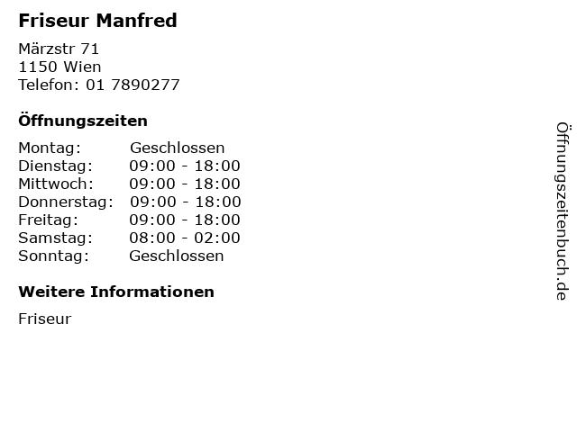 Friseur Manfred in Wien: Adresse und Öffnungszeiten