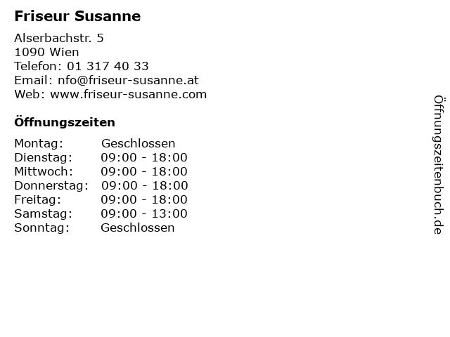 Friseur Susanne in Wien: Adresse und Öffnungszeiten