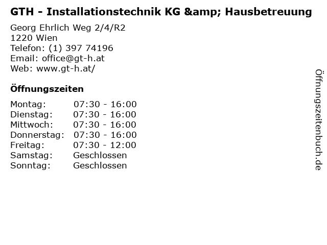 GTH - Installationstechnik KG & Hausbetreuung in Wien: Adresse und Öffnungszeiten