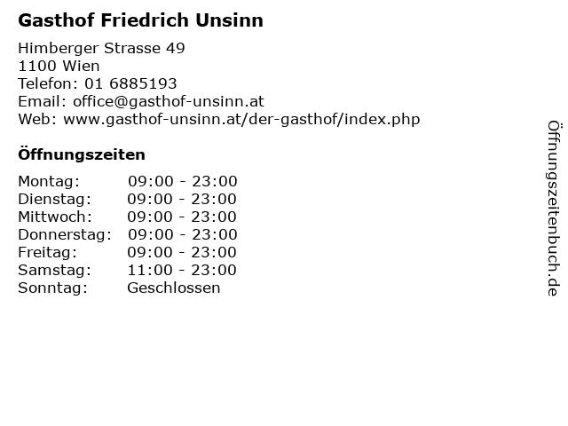Gasthof Friedrich Unsinn in Wien: Adresse und Öffnungszeiten