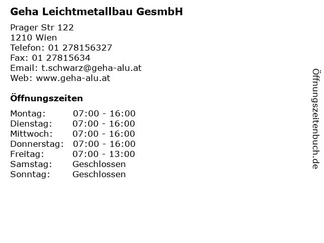 Geha Leichtmetallbau GesmbH in Wien: Adresse und Öffnungszeiten