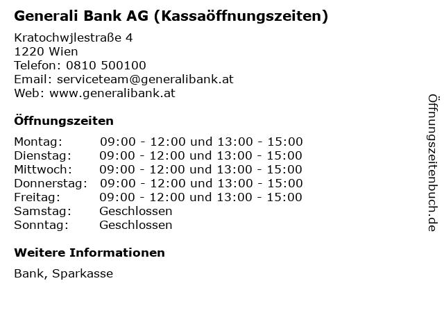Generali Bank AG (Kassaöffnungszeiten) in Wien: Adresse und Öffnungszeiten