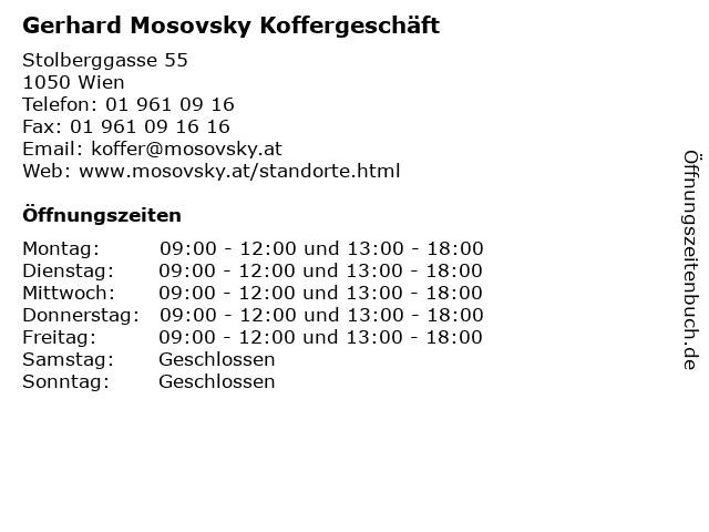 Gerhard Mosovsky Koffergeschäft in Wien: Adresse und Öffnungszeiten