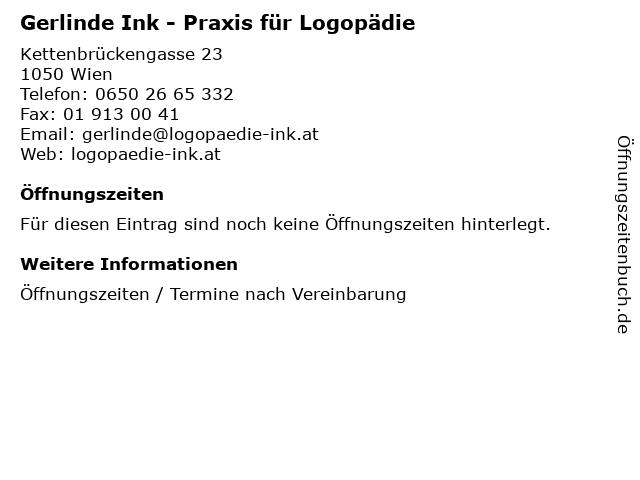 Gerlinde Ink - Praxis für Logopädie in Wien: Adresse und Öffnungszeiten