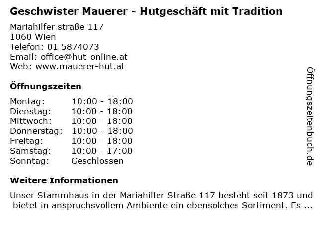 Geschwister Mauerer - Hutgeschäft mit Tradition in Wien: Adresse und Öffnungszeiten