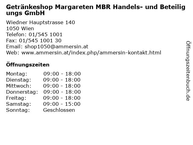 Getränkeshop Margareten MBR Handels- und Beteiligungs GmbH in Wien: Adresse und Öffnungszeiten