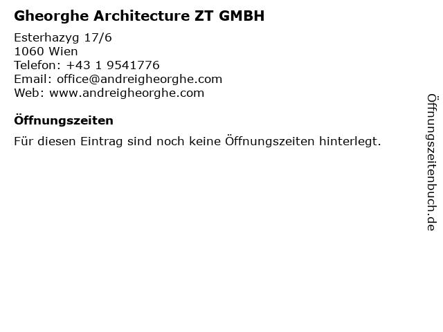 Gheorghe Architecture ZT GMBH in Wien: Adresse und Öffnungszeiten