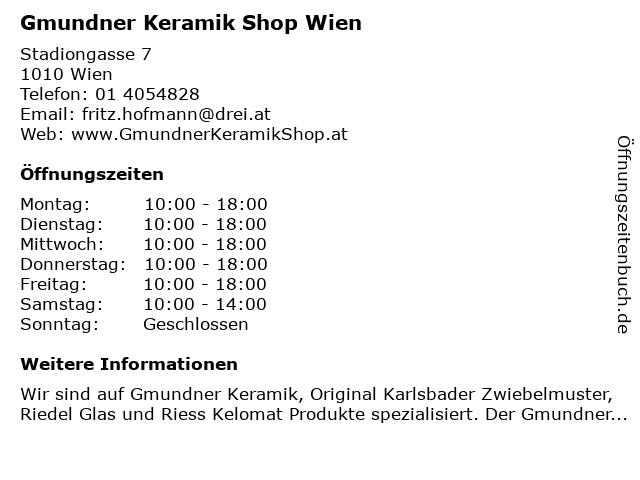 Gmundner Keramik Shop Wien in Wien: Adresse und Öffnungszeiten