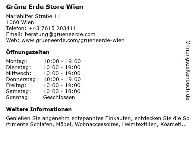 ᐅ öffnungszeiten Grüne Erde Store Wien Mariahilfer Straße 11 In