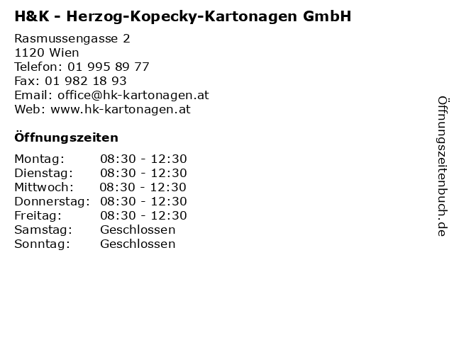 H&K - Herzog-Kopecky-Kartonagen GmbH in Wien: Adresse und Öffnungszeiten