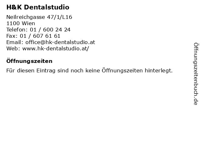 H&K Dentalstudio in Wien: Adresse und Öffnungszeiten