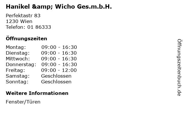 Hanikel & Wicho Ges.m.b.H. in Wien: Adresse und Öffnungszeiten