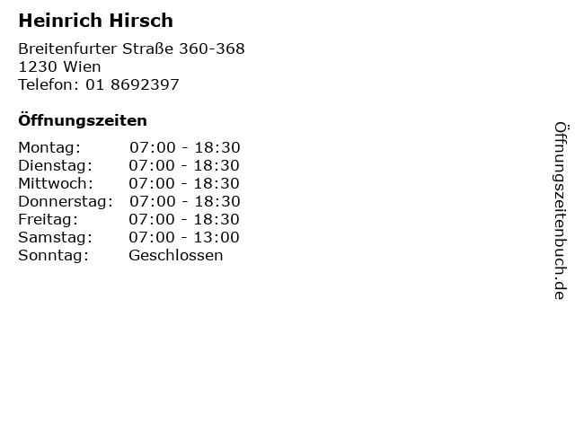 Heinrich Hirsch in Wien: Adresse und Öffnungszeiten