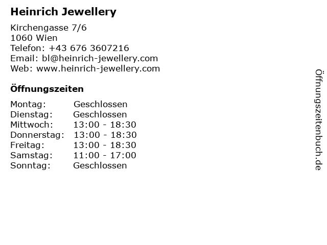 Heinrich Jewellery in Wien: Adresse und Öffnungszeiten