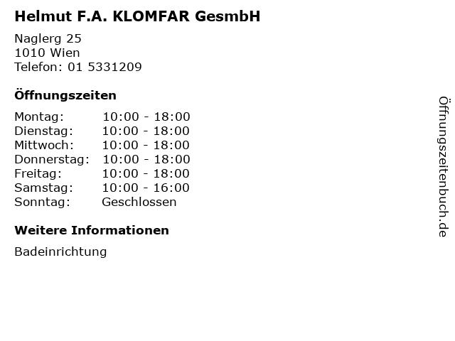 Helmut F.A. KLOMFAR GesmbH in Wien: Adresse und Öffnungszeiten