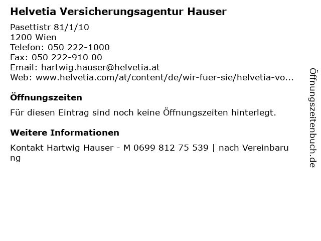 Helvetia Versicherungsagentur Hauser in Wien: Adresse und Öffnungszeiten