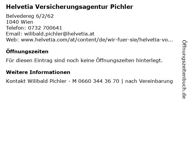 Helvetia Versicherungsagentur Pichler in Wien: Adresse und Öffnungszeiten