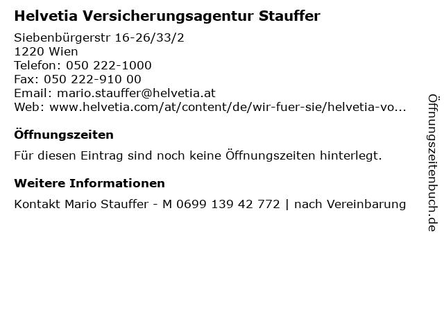 Helvetia Versicherungsagentur Stauffer in Wien: Adresse und Öffnungszeiten