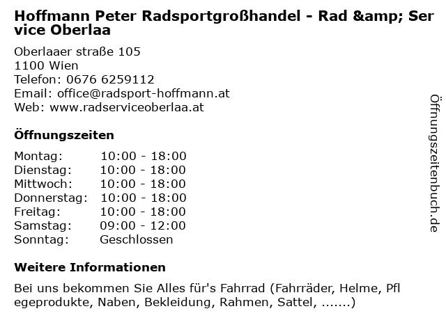 Hoffmann Peter Radsportgroßhandel - Rad & Service Oberlaa in Wien: Adresse und Öffnungszeiten