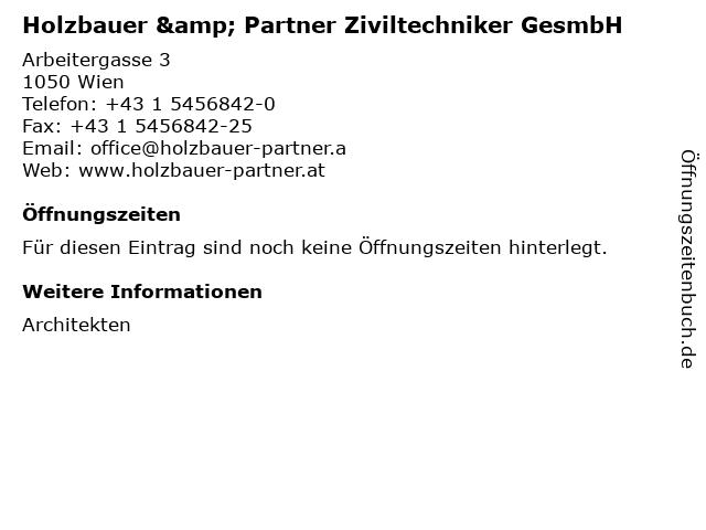 Holzbauer & Partner Ziviltechniker GesmbH in Wien: Adresse und Öffnungszeiten