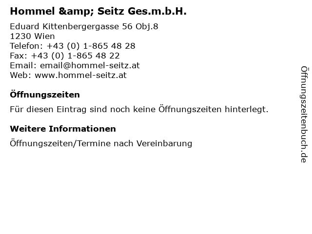 Hommel & Seitz Ges.m.b.H. in Wien: Adresse und Öffnungszeiten