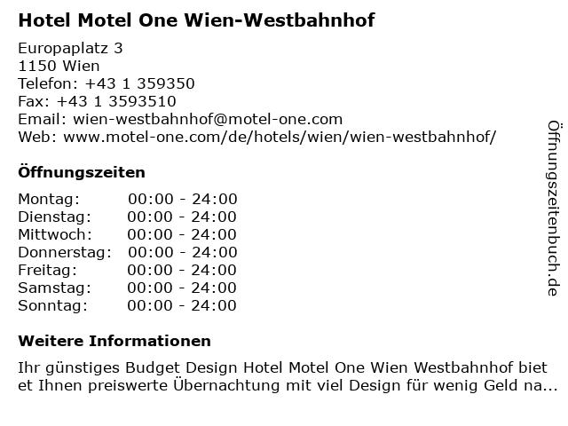 ᐅ öffnungszeiten Hotel Motel One Wien Westbahnhof Europaplatz 3